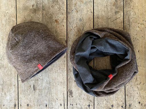 Set aus Angora-Jersey in braun: Mütze und Rundschal mit Jersey | Mütze 26,00 Euro, Schal 34,00 Euro