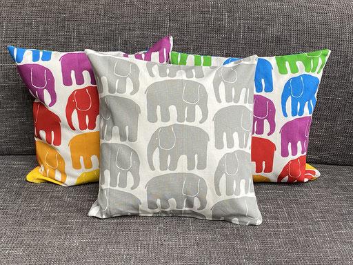 Kissenbezüge Elefanten | grau | bunt