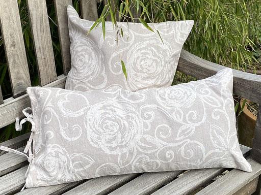 Kissenbezüge natur Blumen weiß