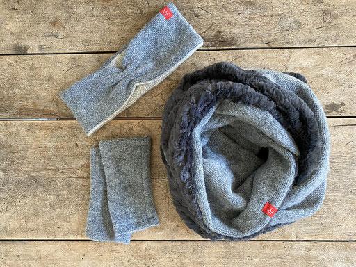 Set aus Schurwolle in grau: Stirnband mit Plüsch-Rundschal und Pulswärmer | Stirnband 22,00 Euro, Schal 49,00 Euro, Pulswärmer 22,00 Euro