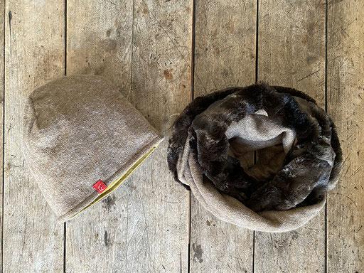 Set aus Angora-Jersey in sand: Mütze und Rundschal mit Jersey | Mütze 26,00 Euro, Schal 34,00 Euro