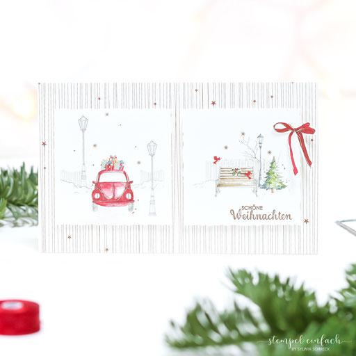 Weihnachtskarte mit Auto