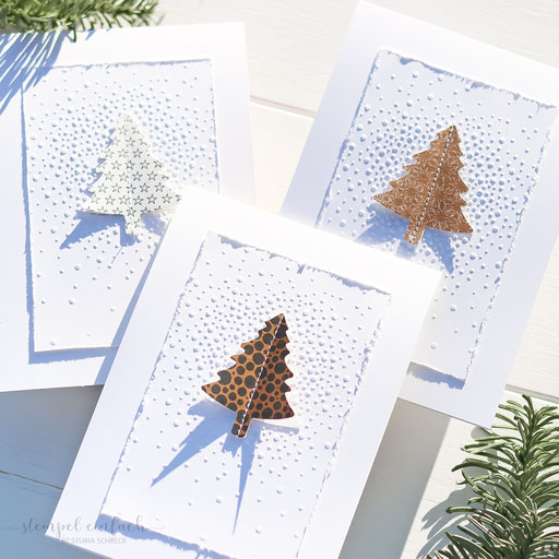Weihnachtskarten mit Tannenbäumen