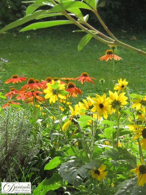 Inspiriert von den Farben des Herbstes: orange und gelb blühende Herbstblumen