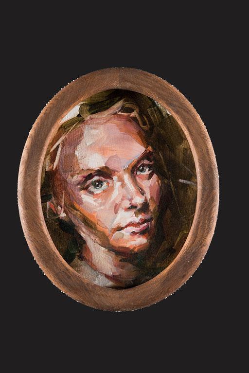o.t(josephine), oval, 30 x20 cm, oil on linen, framed