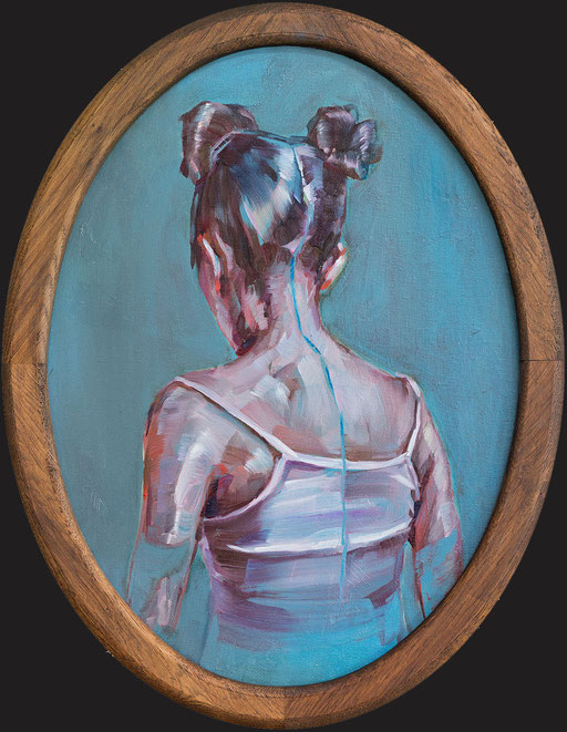 o.t(blaumahl), oval, 40 x30 cm, oil on linen, framed