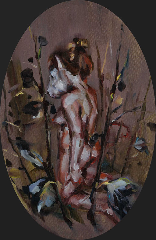 o.t( esel), oval, 30 x20 cm, oil on linen, 2011