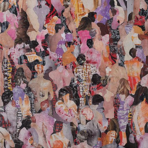 Crowd 01 | 2017 | 60x60cm | Papier auf Holz