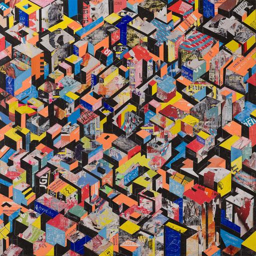 City 09 | 2017 | 135x135cm | Papier auf Holz