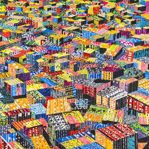 City 01 | 2015 | 120x120cm | Papier auf Holz