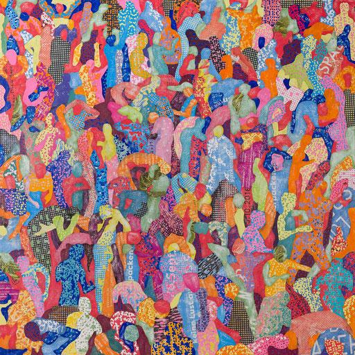 Crowd 05 | 2017 | 150x150cm | Papier auf Holz