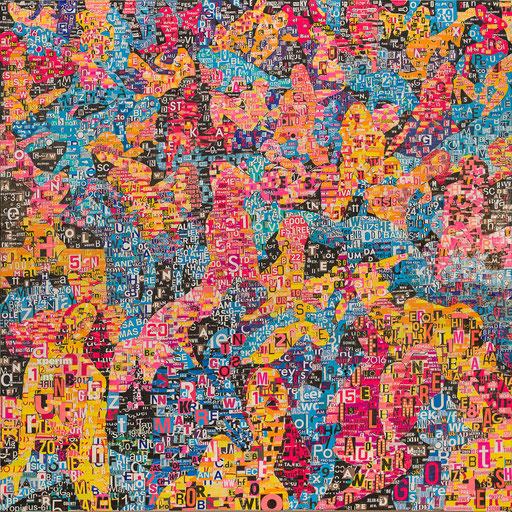 Crowd 09 | 2018 | 130x130cm | Papier auf Holz