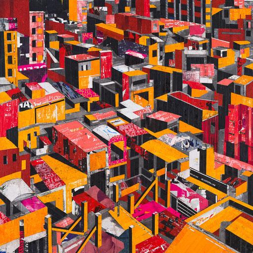 City 03 | 2015 | 120x120cm | Papier auf Holz