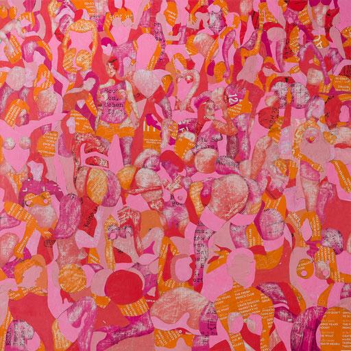 Crowd 04 | 2017 | 150x150cm | Papier auf Holz