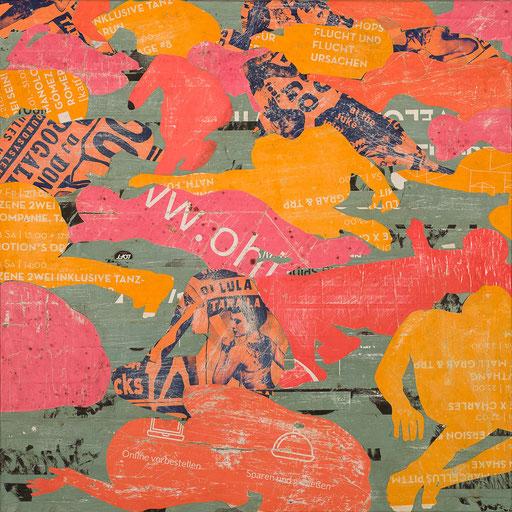 Crowd 08 | 2018 | 60x60cm | Papier auf Holz