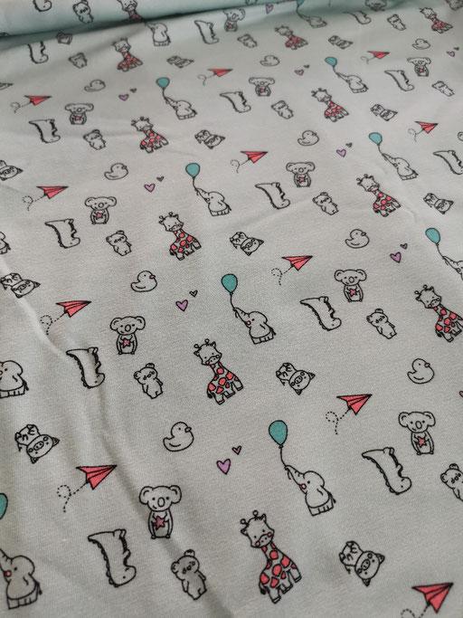 Kleine Tiere mit Ballon & Flieger mint - Jersey