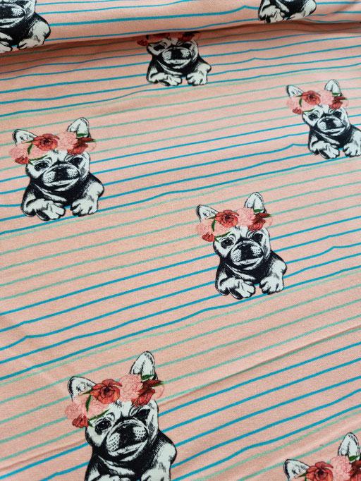 Bulldogge mit Blume rosa - Sommersweat