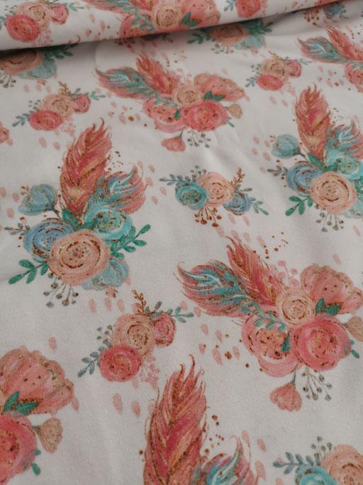 Blumen-Bouquet mit Federn - Jersey