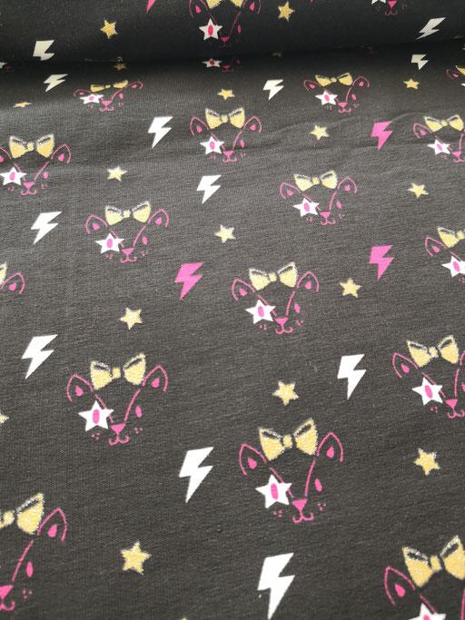 Glitter Kitty schwarz - Sweat aufgeraut