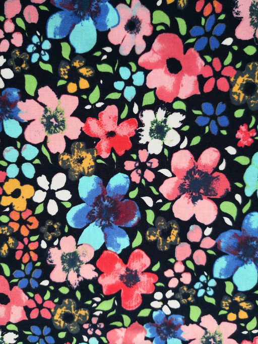 Farbige Blumen - Jersey