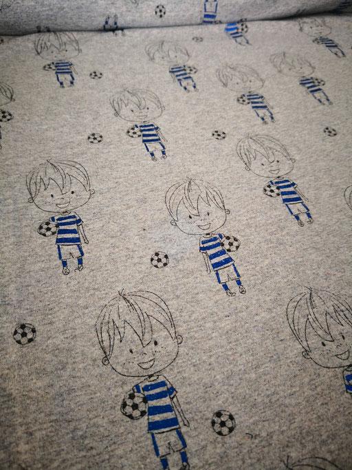 Fussballjunge grau meliert/blau Folie - Jersey