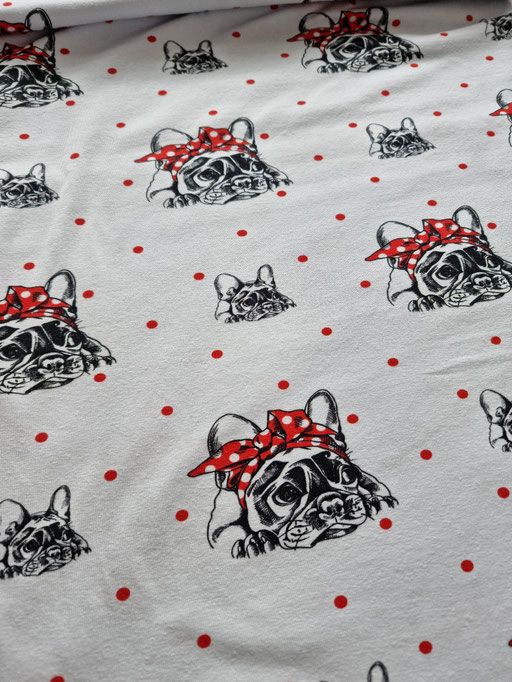 Bulldogge mit Masche auf weiss, roten Punkte - Jersey