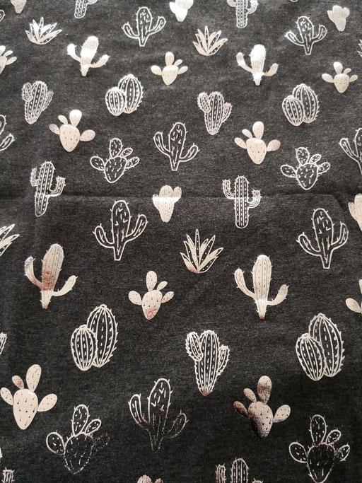 Kaktus Glänzend - dunkelgrau meliert, silber - Jersey