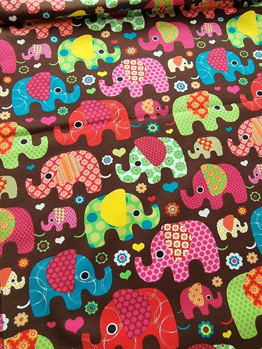 Bunte Elefanten auf braun - Jersey