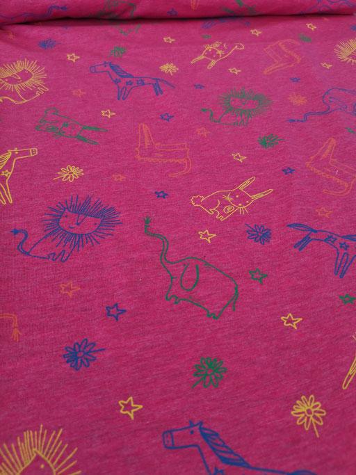 bunte Tiere, Blumen, Sterne pink - Jersey