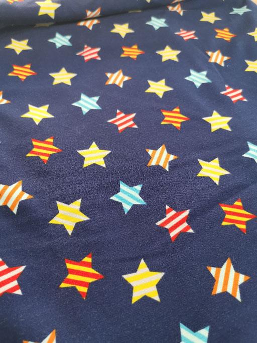 Bunte Sterne auf dunkelblau - Jersey