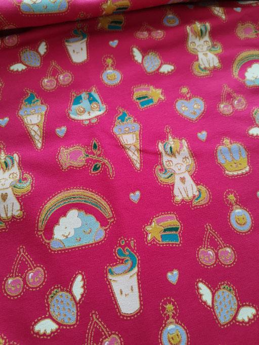 Einhorn goldglitzer pink - Sommersweat