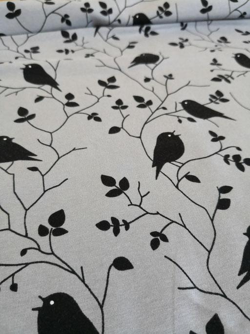 Vögel grau,schwarz - Jersey
