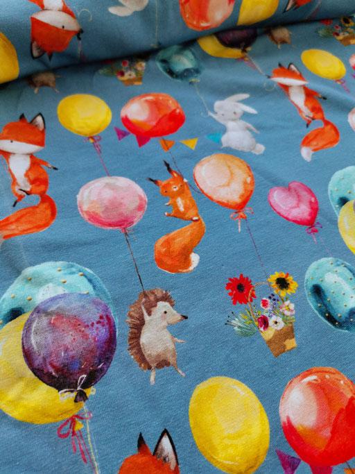 Tiere mit Ballöne blau - Jersey