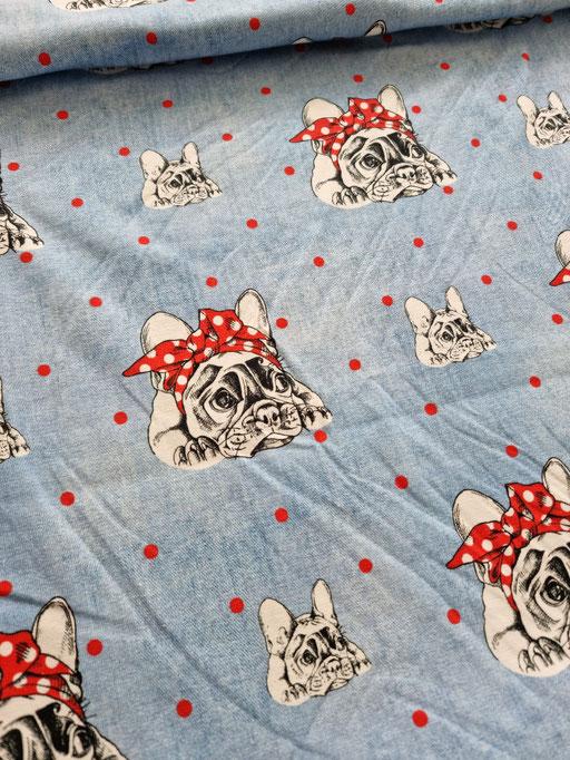 Bulldogge mit Masche jeansblau - Jersey