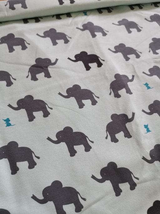 Elefant & Maus mint - Jersey