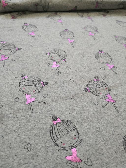 Ballerina grau meliert/rosa Folie - Jersey