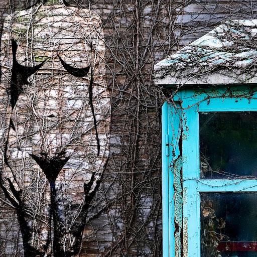 Near Life Experience - Phone box and ruin facade, public park, Suzhou, with life model.