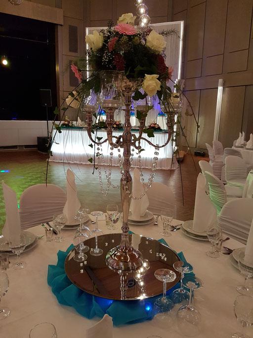 Kerzenständer Saaldekoration türkisblau