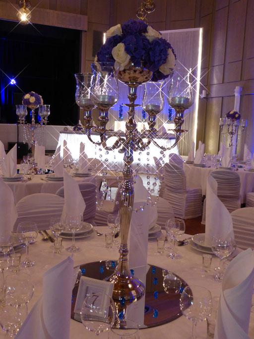 Kerzenständer Hortensien Diamanten blau