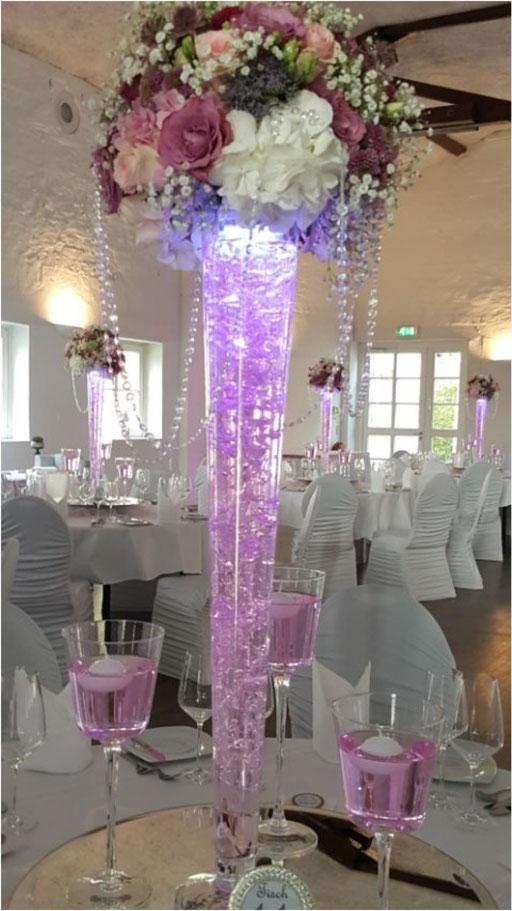 Vase LED-Beleuchtung altrosa Blumengesteck