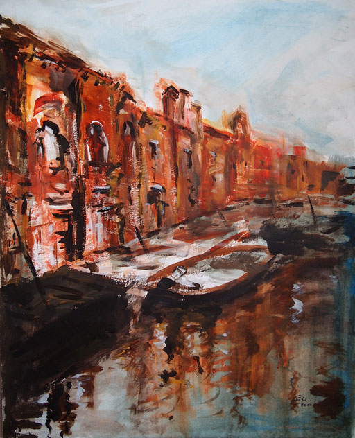 Sunset Venice,expressiv,Acryl_Papier,50x40cm