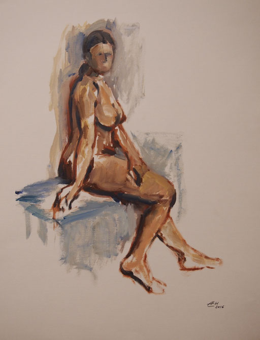 Woman Sitting,Öl-Papier 65x50cm