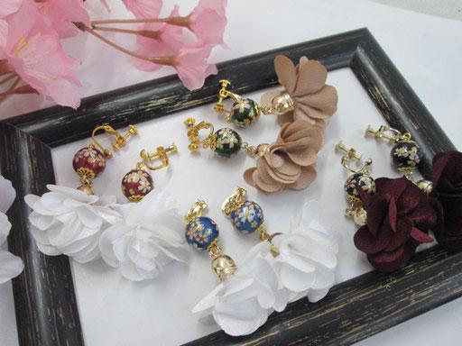 ★桜ビーズのフラワーイヤリング