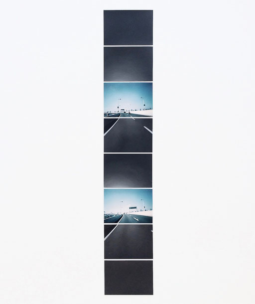 """""""Sequence drawing (on highway)"""" 2015  photograph, acrylic on paper  8.9×12.7cm(each) eight-piece, Private Collection"""