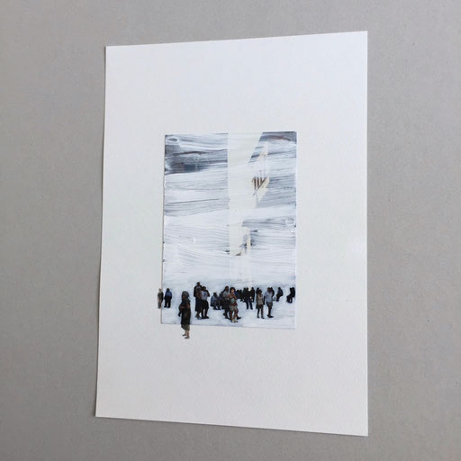 """""""Untitled"""" 2018  oil on photograph, watercolor on paper, 23×17cm"""