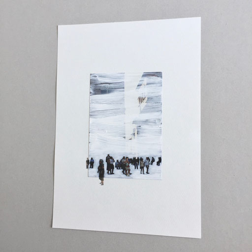 """""""Untitled"""" 2018  oil on photograph, watercolor on paper  25.3×18cm"""
