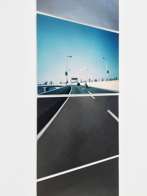 """""""Sequence drawing (on highway)"""" / detail    2015  photograph, acrylic on paper"""