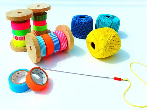 お好みのマスキングテープや糸を使ってヒンメリづくり