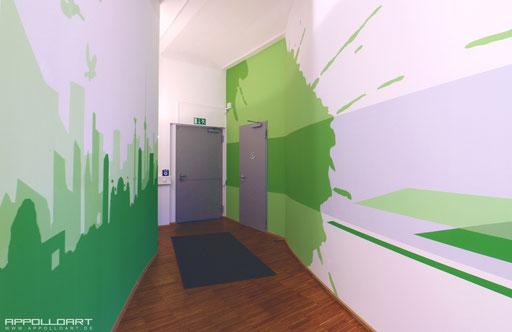 edle Wandmalerei Büro Praxis Loft Unternehmen
