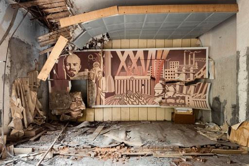Wandbild mit Genosse Lenin in einer ehemaligen GSSD Kaserne (Deutschland)